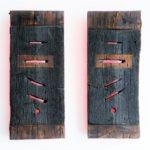 Holz, verbrannt, Rückseite bemalt